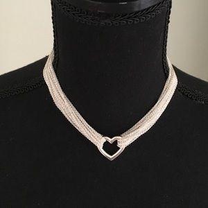 Tiffany Multi Strand Heart Necklace Silver